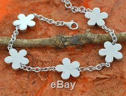 Larimar Flower Bracelet, Silver, Hawaiian, Plumeria, Chain, Link, Birthday, Gift Idea