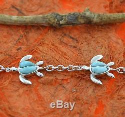 Larimar Turtle Bracelet-Sterling Silver-Sea Honu, Chain, Cute Gift, Fashion, Ocean
