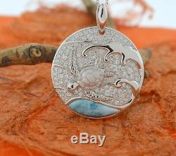 Larimar Turtle CZ Pendant-Sterling Silver-Round, Honu, Hawaiian, Sea Life, Gift Idea