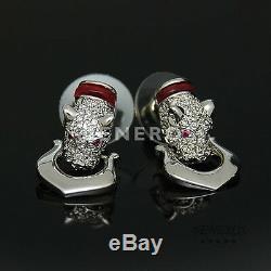 Leopard Head Earrings Necklace Bracelet Animal Cat Silver Gift Jewelry Set-R
