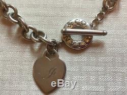 Letter Js GiftAuthentic Tiffany &Co Sterling Silver Heart Charm 15 Necklace