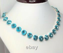 Light Turquoise Crystal Necklace Silver Plated Georgian Paste Women Gift Boxed