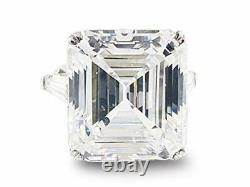 Liz Taylor Solitaire Three Stone Ring 925 Sterling Silver Asscher Baguette Gift