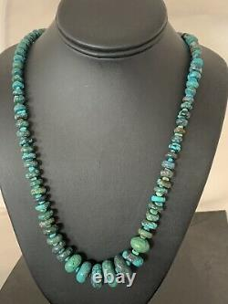 Long Navajo Sterling Silver Blue SpiderWeb Turquoise Bead Necklace 30in 193 Gift