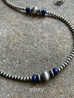 Long Sterling Silver Blue Lapis W Navajo Pearls Bead Necklace. 35 inch. Gift