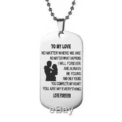 Love Couple Spouse Gift To My Love I Love You Dog Tag Necklace Gift Gift Necklac