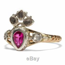 Love Gift um 1750 Ruby Ring Rococo/Heart Gold Silver Engagement Ring