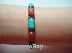 Lovely Vtg Girl's GiftOld Pawn Sign Navajo Sterling Coral Turquoise 6 Bracelet