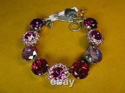 MARIANA BRACELET BIG SWAROVSKI CRYSTALS FLOWER PINK PURPLE BEADS Silver PL Gift