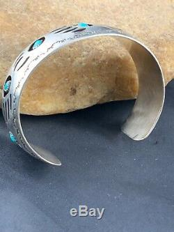 MENS BearPaw Navajo Native American Sterling Silver TURQUOISE Bracelet 3285 Gift