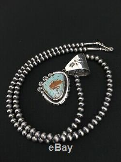 MENS Gift Sterling Silver Turquoise#8 Pendant Navajo Pearl Necklace 2.25 4817