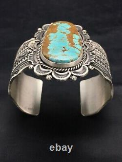 MENS Native American Navajo Sterling Silver Turquoise #8 Cuff Bracelet 1024 Gift