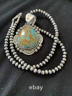 MENS Sterling Silver Blue Turquoise#8 Pendant Navajo Pearl Necklace Gift 1404