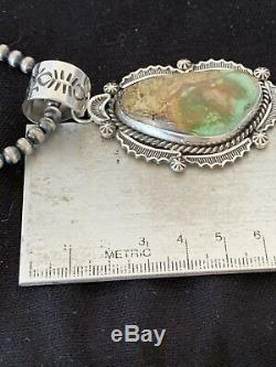 MENS Sterling Silver Royston Turquoise Pendant Navajo Pearl Necklace 212 Gift