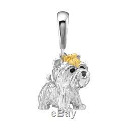 Madrid ARTE Yorkshire Terrier Dog Charm Puppy Dangle Animal Silver Keyring Gift