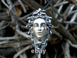 Medusa Goddess Necklace, Medusa Sterling Silver Pendant, Valentine's Day Gift