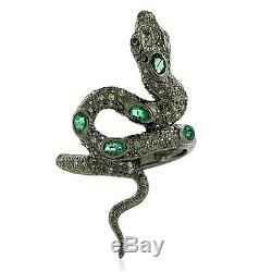 Memorial Gift Emerald Pave Diamond Vintage Ring 14k Gold 925 Silver Snake Ring