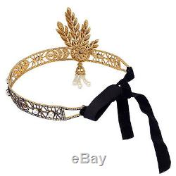 Memorial Gift Pave Diamond Pearl Sterling Silver Designer Crown Handmade Jewelry