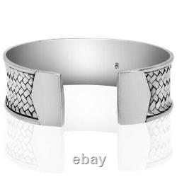 Men's & Women's Solid 925 Sterling Silver Wide Cuff Bracelet Gift VY Jewelry
