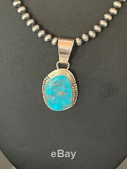 Mens Gift Navajo Pearls Sterling Silver KINGMAN Turquoise Necklace Pendant 4297