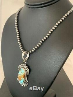 Mens Gift Navajo Pearls Sterling Silver ROYSTON Turquoise Necklace Pendant 4303