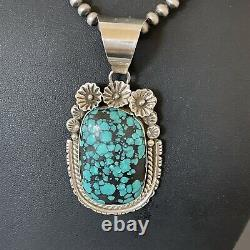 Mens Gift Navajo Sterling Silver Blue SpiderWeb Turquoise Necklace Pendant 01645