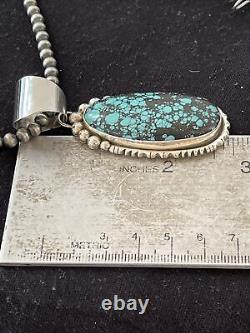 Mens Gift Navajo Sterling Silver Blue SpiderWeb Turquoise Necklace Pendant 01646