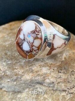 Mens Gift Navajo Sterling Silver CRAZY HORSE TURQUOISE Inlay Ring Size 8.5 4208