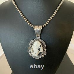 Mens Gift Navajo White Buffalo Turquoise Sterling Silver Necklace Pendant 01970