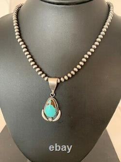 Mens Gift Sale Navajo Sterling Silver Blue Turquoise Necklace Pendant Set 4018
