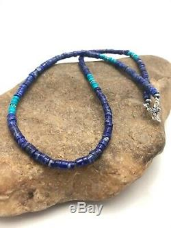 Mens Gift Sale Navajo Sterling Silver Lapis Turquoise Necklace 19 in 3205