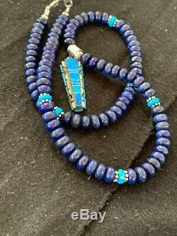 Mens Gift Sale Navajo TURQUOISE Lapis Sterling Silver Necklace OPAL Pendant 4327