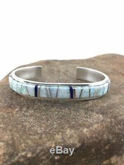 Mens Native American Navajo Sterling Silver Inlay Opal Lapis Bracelet 4542 Gift