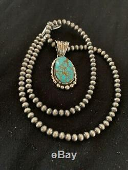 Mens Navajo Pearls Sterling Silver Blue Turquoise#8 Necklace Pendant 4694 Gift