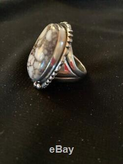 Mens Navajo Sterling Silver Crazy Horse TURQUOISE Ring Size 11 Gift 3227 Sale