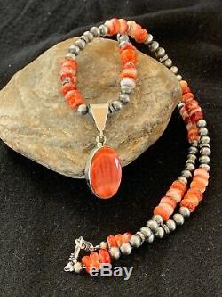 Mens Navajo Sterling Silver Red SPINY OYSTER Necklace Pendant Gift 8831