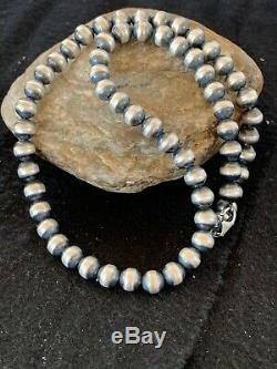Mens Women Gift Navajo Pearls 8mm Sterling Silver Bead Necklace 19 4324