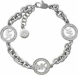Michael Kors Runway MK Logo Silver Tone Womens Bracelet with Gift Box MKJ4730040