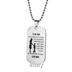 Mother Son Pendant To My Son Never Forget That I Love You Dog Tag Necklace Gift
