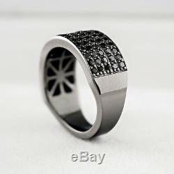 Mother's Day Gift 2Ct Black Diamond 14K Gold Excellent Band Ring in 925 Silver