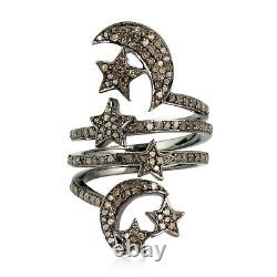 Mother's Day Gift Pave Diamond Star Moon Spiral Ring 925 Sterling Silver Jewelry
