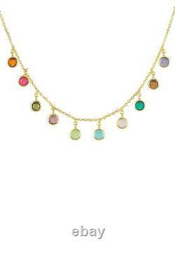 Multi Coloured Gemstone Necklace Gold Choker Dangle Silver 925 Gift Statement