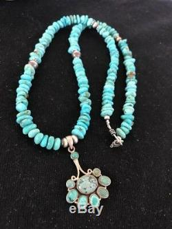 NA Sterling Silver Turquoise Necklace Feather Pendant Navajo Pearls K Gift