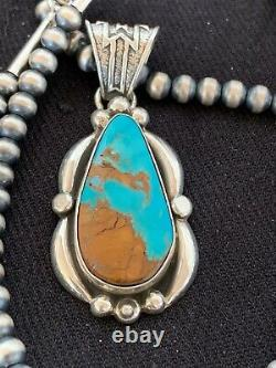 NAVAJO ROYSTON TURQUOISE STERLING SILVER NECKLACE PENDANT 4616 Gift Sale