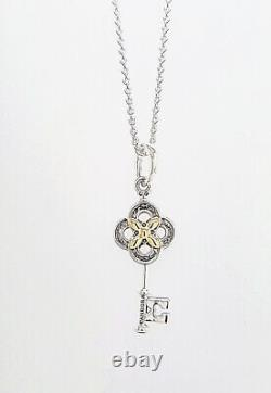 NEW 100% Authentic PANDORA 925 14k Gold Two-tone Key & Flower Necklace 399339C01