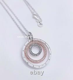 NEW 100% Authentic PANDORA Logo Two-tone Circles Pendant & Necklace 389483C01