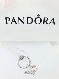 NEW 100% PANDORA Heart & Rose Flower Pandora O Charm Pendant Necklace Gift Set