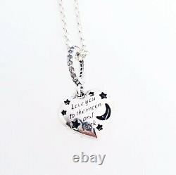 NEW Authentic PANDORA 925 Sparkling Blue Moon & Stars Heart Necklace 399232C01