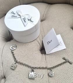NIB DIOR Logo Charm Bracelet Gift Bow Dangle
