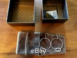 NWT $450 Auth GUCCI BRITT LOGO HOOP 925 ST SILVER EARRINGS withGift Box ITALY